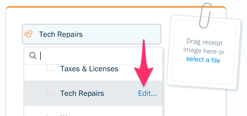 Edit link next to a custom subcategory.