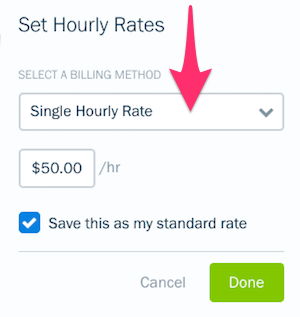 Single hourly rate option.