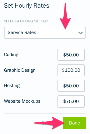 Service rate option.