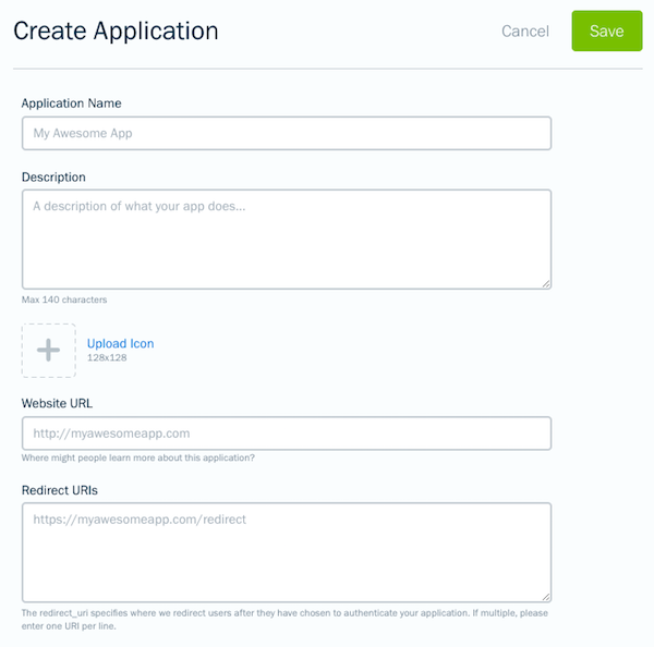 API form for a new app.