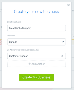 Fill in fields about your new business.