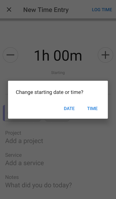 Change starting date or time options.