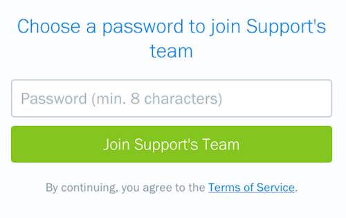 Create password to set up employee account.