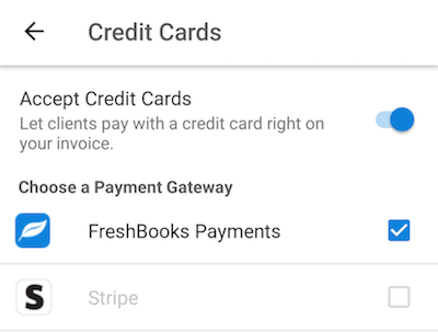 Swipe toggle to accept credit cards to on.