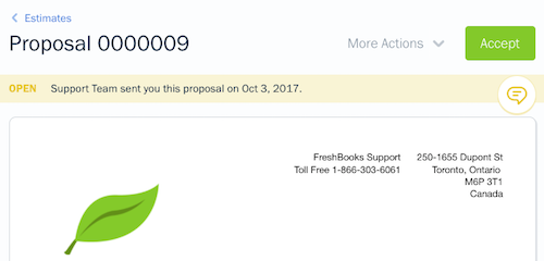 Client view of a proposal.