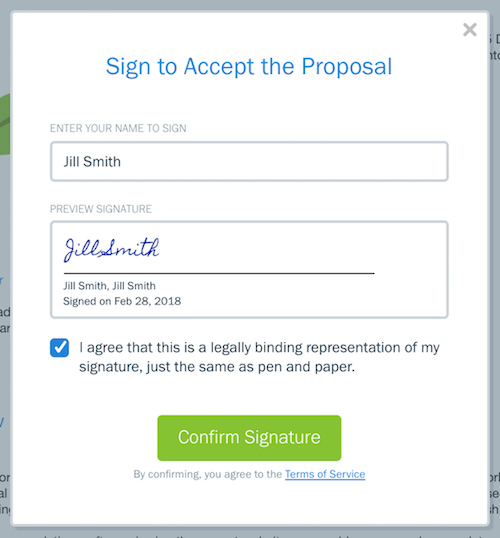 Example of signature filled out on proposal.