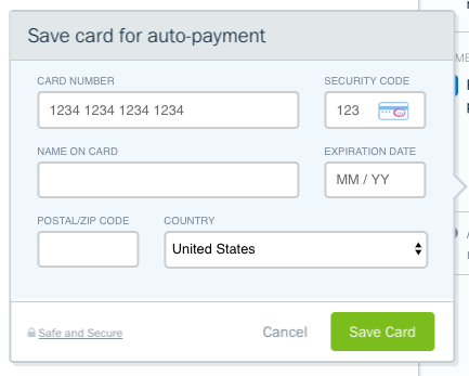 Form to fill out for credit card details.