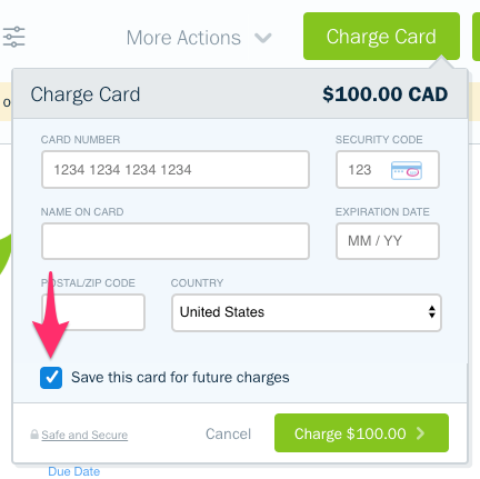 Save card for future charges checkbox.