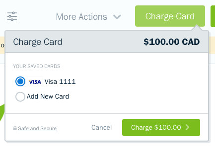 Charge card with a saved credit card available to select.