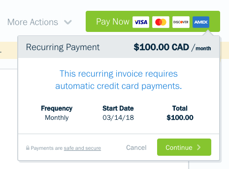 Pay now button with confirmation of recurring payments.