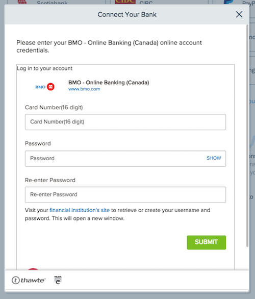 Login credential fields to connect to your bank.