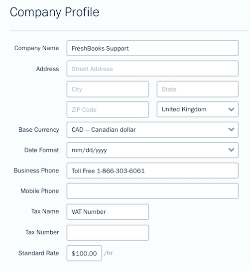 Company profile with fields to fill out.