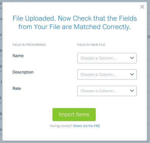 Fields to map over for items in your csv file.