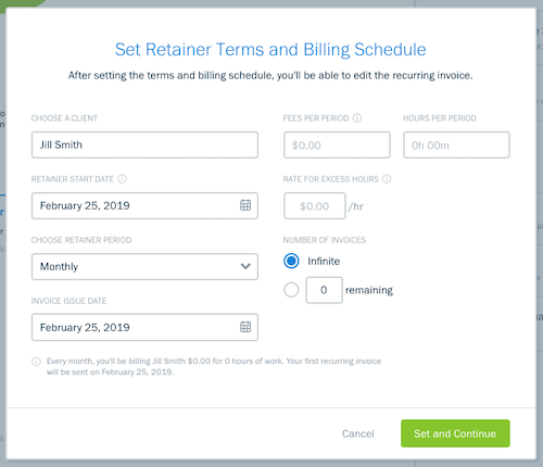 Set retainer terms and billing schedule form.