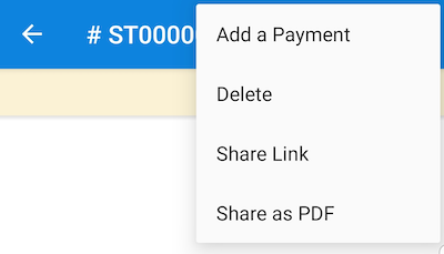 Share Link or Share as PDF options on Invoice.