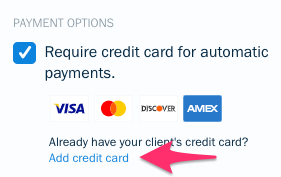Add credit card link under payment options box.