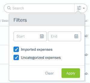 Imported expenses and uncategorized expenses checkbox in search filters.