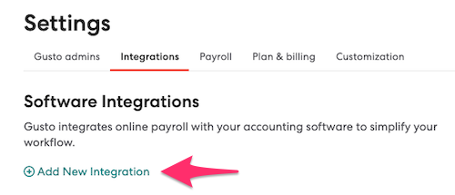 Add new integration button inside Gusto account.