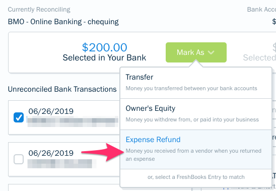 Mark as expense refund option for transaction.