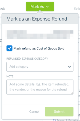 Mark refund as cost of goods sold checkbox on expense refund form.