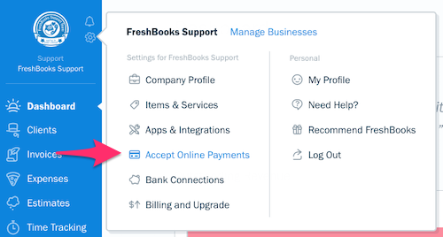 Settings pop-up with Accept Online Payments listed as an option.
