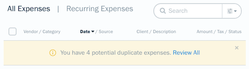 Banner at top of list of expenses notifying of duplicate expenses.