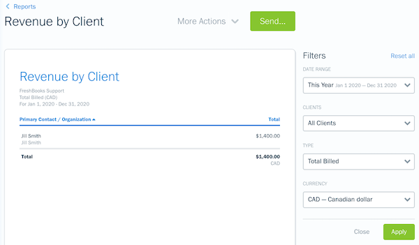 Filters on the revenue by client report.