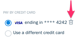Trash can icon next to saved credit card.