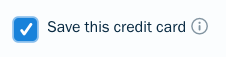 Checkbox next to save credit card.