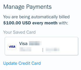 Update credit card link on saved card.