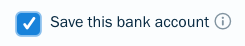 Checkbox next to save bank transfer details.