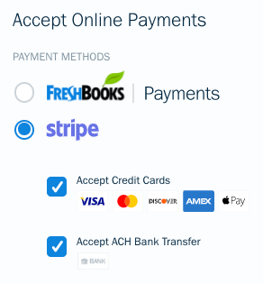 Checkboxes next to Accept Credit Cards and Accept ACH Bank Transfers on invoice.