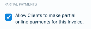 Checkbox to enable partial payments.