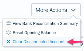 Clear disconnected account option in dropdown.