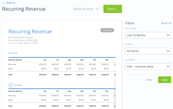 Recurring revenue report with settings menu open on right side.