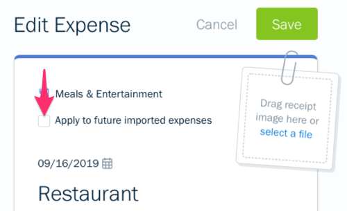 Automatically categorize expense checkbox on expense.