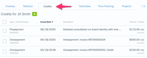 Client profile showing a sub-tab called Credits with a list of credits.