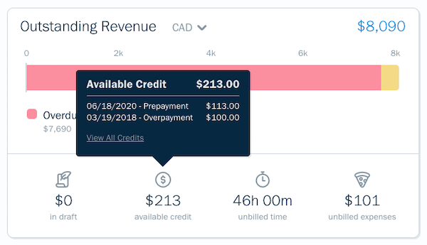 Client profile showing available credit widget.