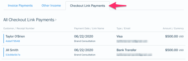 Tab inside Payments section with a list of all checkout links displayed.