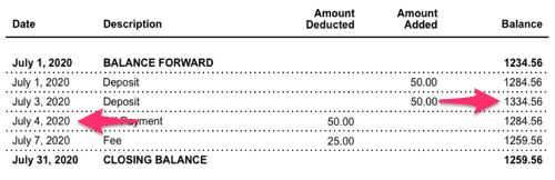 A sample bank account statement with the amount selected from a transaction dated July 3, 2020 before.