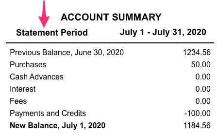 A sample credit card account statement with statement period indicated.