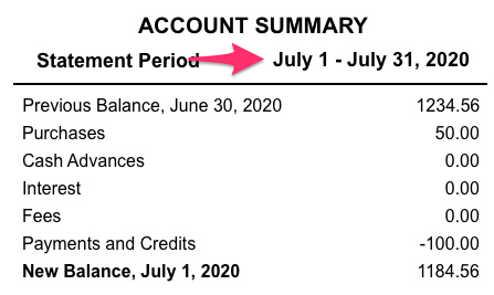 A sample credit card account statement with the date in a statement period indicated.