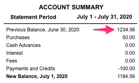 A sample credit card account statement with the amount next to previous balance selected.