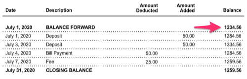 A sample bank account statement with the amount next to Balance Forward selected.