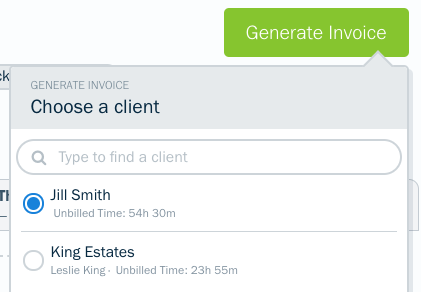 Choose a client dropdown with clients to select.