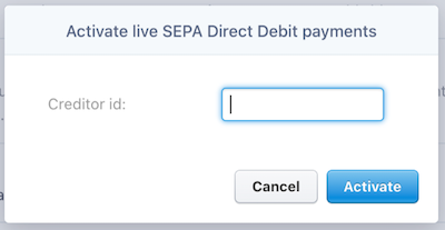 SEPA activation window with field for creditor id.