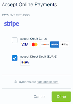 Checkbox checked off next to accept direct debit.