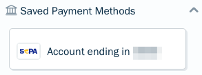 Saved payment method displayed in client profile.