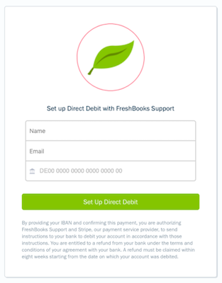 Set up direct debit form with fields to fill out.
