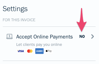 Accept online payments under settings on invoice.
